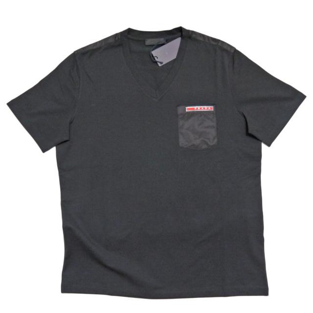 プラダ メンズ メンズ 異素材mix VネックTシャツ 黒 #M #XL #XXL  PRADA