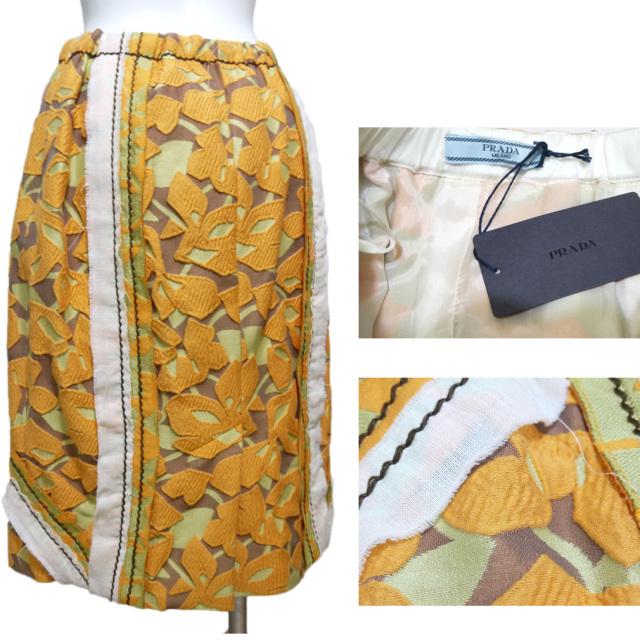 プラダ 贅沢な生地を使用したスカート オレンジ #42 PRADA