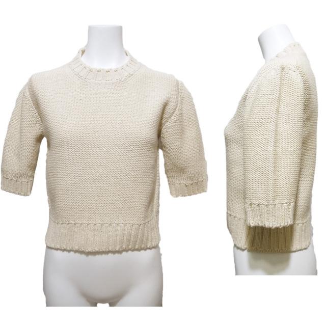 プラダ コットン クルーネック半袖ニット(セーター) オフホワイト #S PRADA