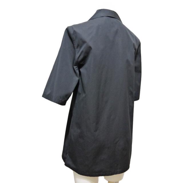 プラダ コットン 半袖シャツブラウス 黒 #38 #40 PRADA