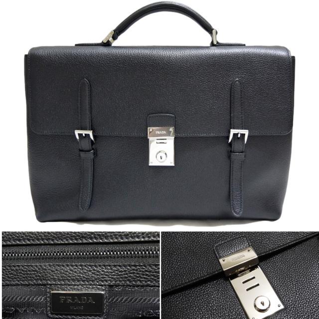 プラダ メンズ レザービジネスバッグ(ブリーフケース) 黒 PRADA