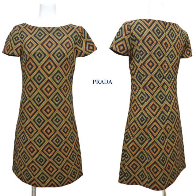 プラダ ウール 半袖ワンピース 幾何学プリント #36 PRADA