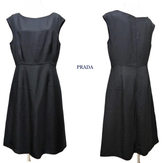 プラダ ブラックフォーマル シンプルなノースリワンピース 黒 #44 PRADA
