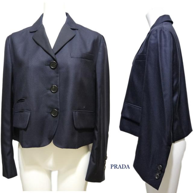 プラダ シルクジャケット 濃紺 #38 PRADA