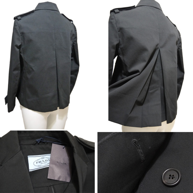 プラダ コットン ジャケット 黒 #40 PRADA