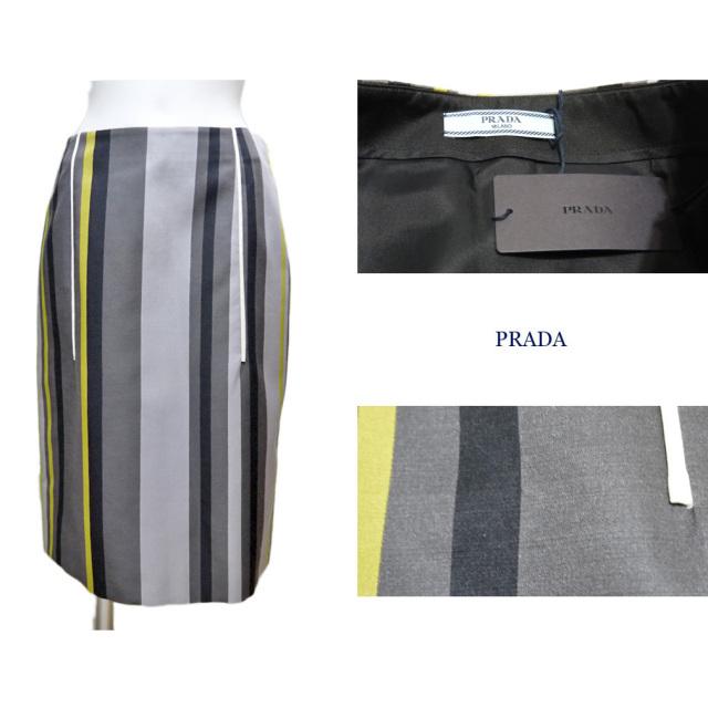プラダ ストライプ タイトスカート グレー #38 PRADA