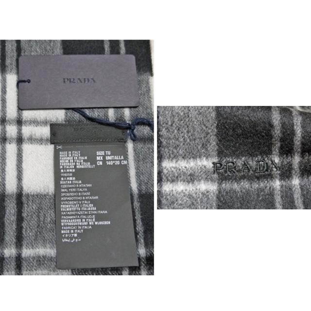 プラダ カシミア100% チェック柄フリンジマフラー 黒×白 PRADA