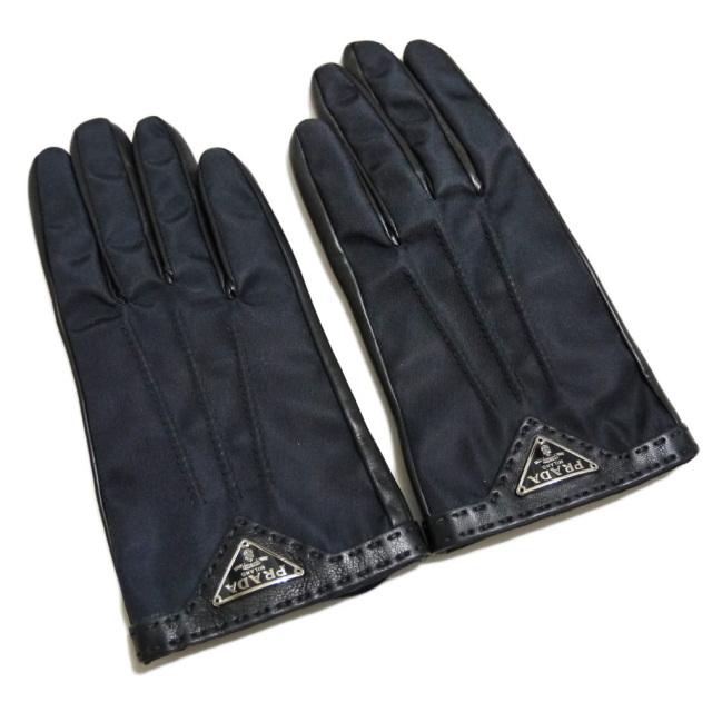 プラダ ロゴ レザー×ナイロン 手袋 黒 PRADA