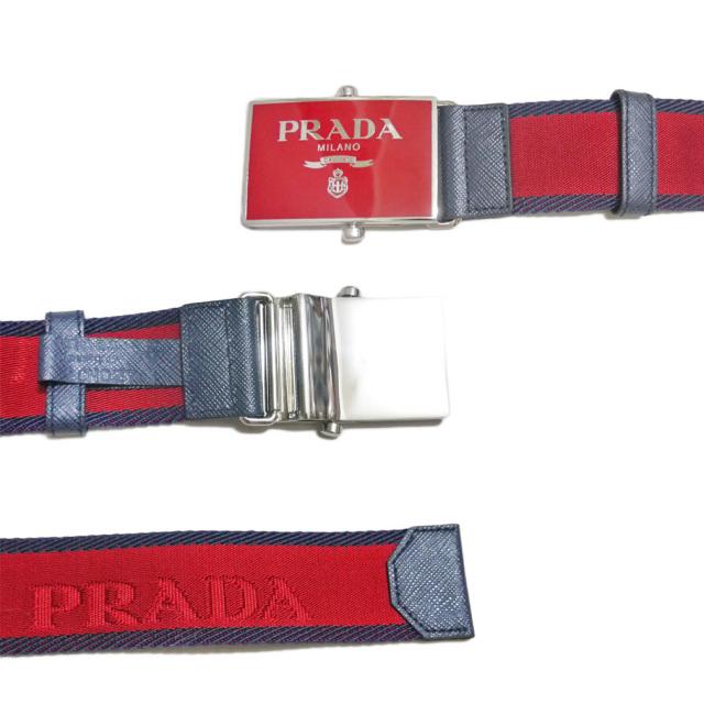 プラダ メンズ ロゴ入り ナイロンカジュアルベルト 赤 #90 #95 PRADA