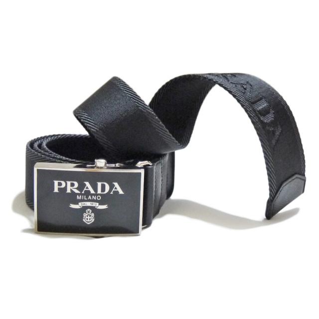 プラダ メンズ ロゴ入り ナイロンカジュアルベルト 黒 #90 #95 PRADA