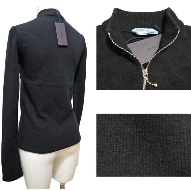 プラダ ウール100% ハイネックセーター 黒 #38 PRADA