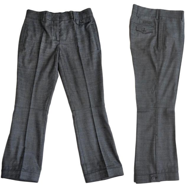プラダ くるぶし丈パンツ チャコールグレー #38 PRADA