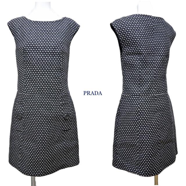 プラダ 厚手ウール 半袖ワンピース 黒 #38 PRADA