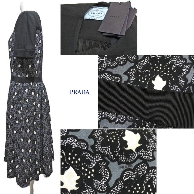 プラダ プリント 半袖ワンピース 黒 #42 PRADA