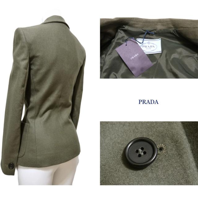 プラダ ウール テーラードジャケット カーキ #36 PRADA