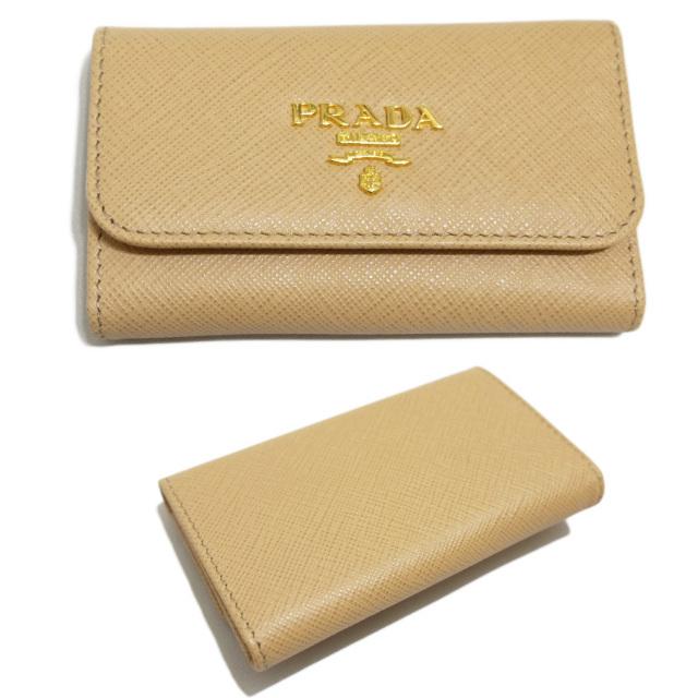 プラダ サフィアーノレザー 6連キーケース ベージュ(NOISETTE) 1PG222 PRADA