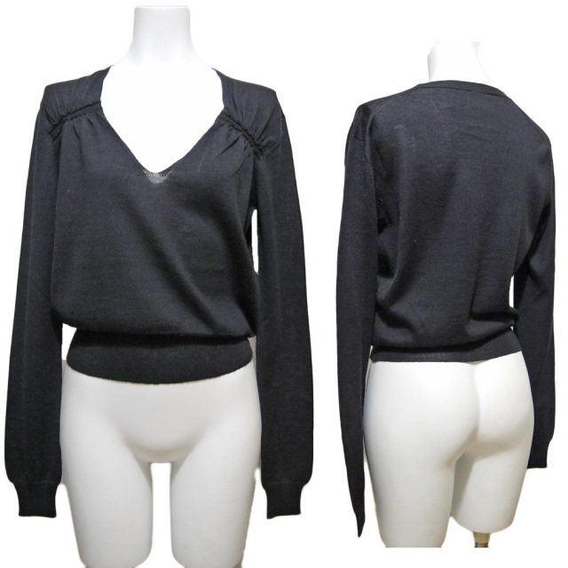 プラダ シルク混 深Vネックセーター 黒 #38 PRADA