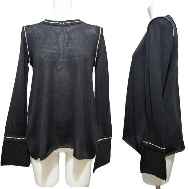 プラダ シルク混 ステッチが上品 Aラインセーター 黒 #40 PRADA