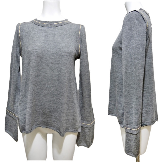 プラダ シルク混 ステッチが上品 Aラインセーター グレー #40 PRADA