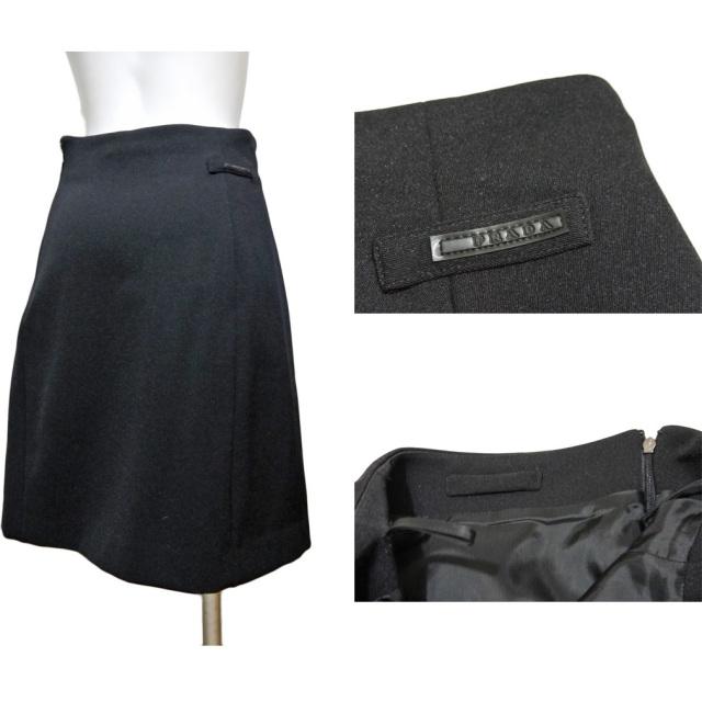 プラダ ジャージーAラインスカート 黒 #40 PRADA