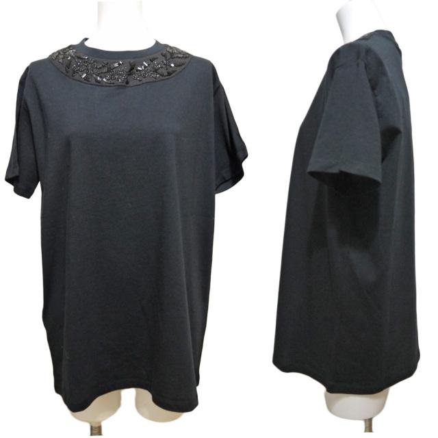 プラダ ビーズ刺繍 Tシャツ 黒 #XL PRADA