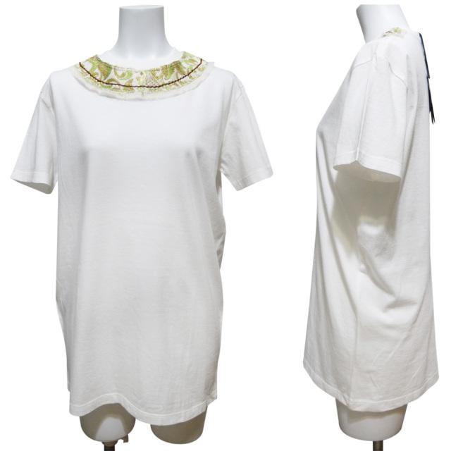 プラダ 刺繍 Tシャツ 白×グリーン #XS #S #M PRADA