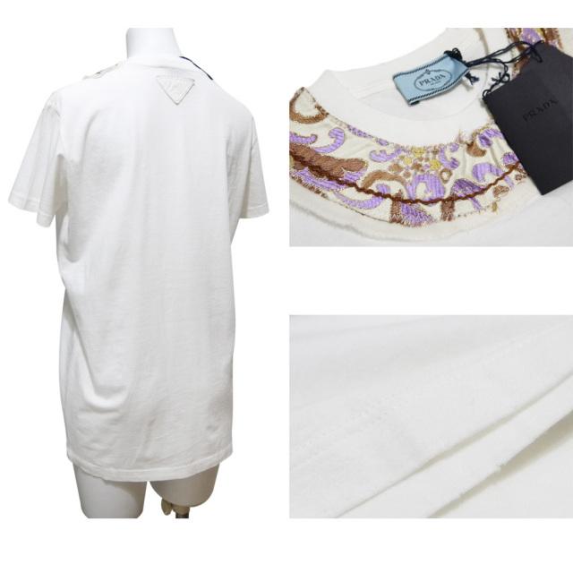 プラダ 刺繍 Tシャツ 白×パープル #XS #S #M PRADA
