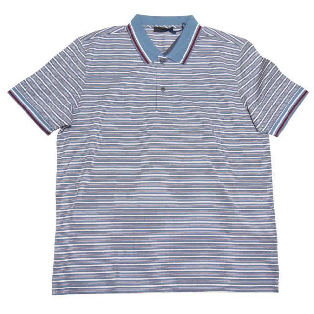 プラダ メンズ ボーダー 鹿の子ポロシャツ ブルー #XL #XXL PRADA