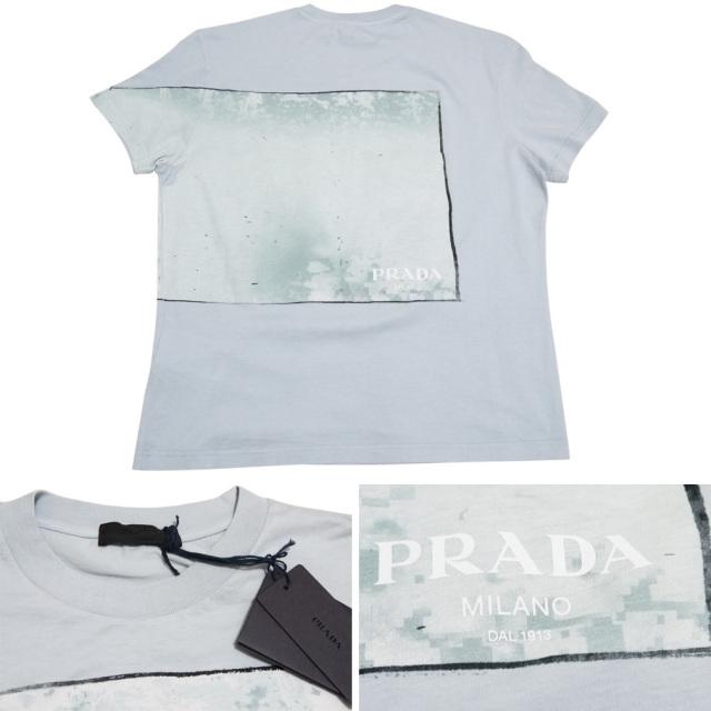 プラダ メンズ プリントTシャツ 水色 #L PRADA