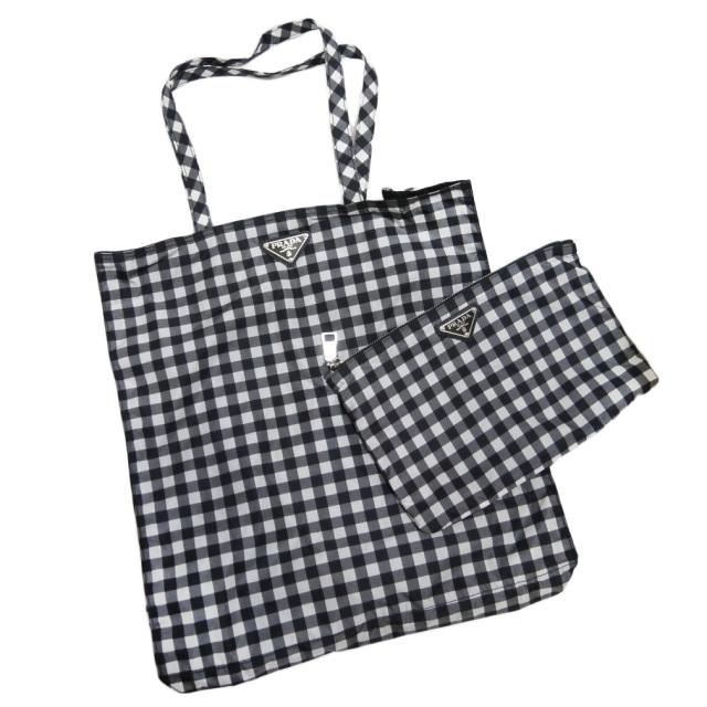 プラダ ギンガムチェック ナイロントートバッグ(エコバッグ) ポーチ付 黒×白 1BG626 PRADA