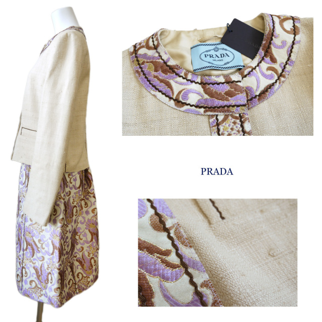 プラダ 刺繍が華やかな シルク スーツ 紫 #42 PRADA