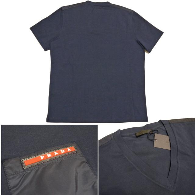 プラダ メンズ 異素材mix VネックTシャツ 濃紺 #M #L #XXL  PRADA