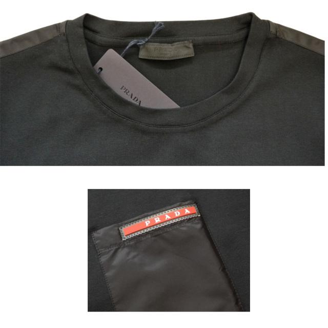プラダ メンズ 異素材mix クルーネックTシャツ 黒 #XL #XXL  PRADA