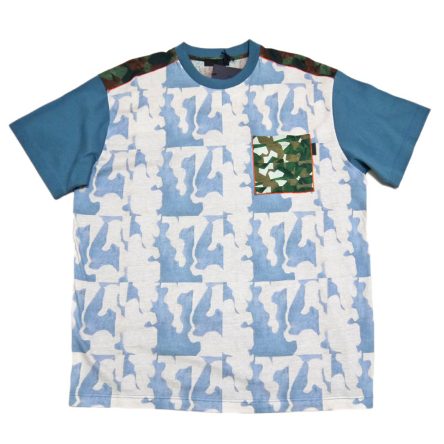 プラダ メンズ プリントTシャツ ブルー #XXL  PRADA