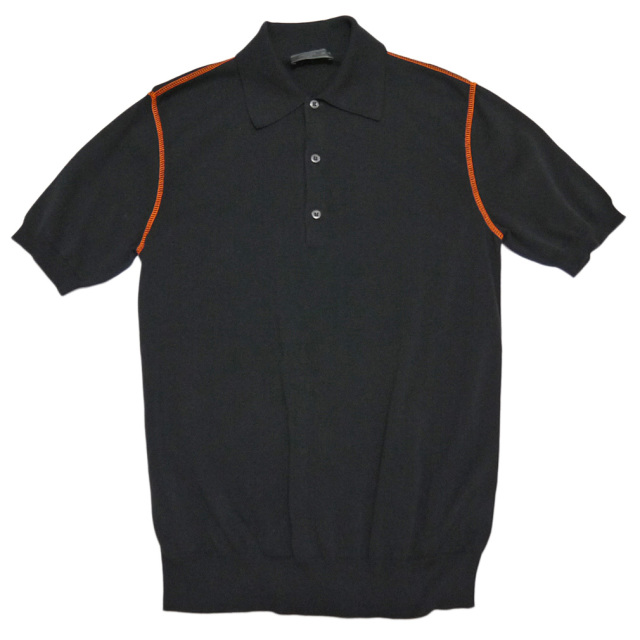 プラダ メンズ 半袖ニット ポロシャツ 黒 #48  PRADA