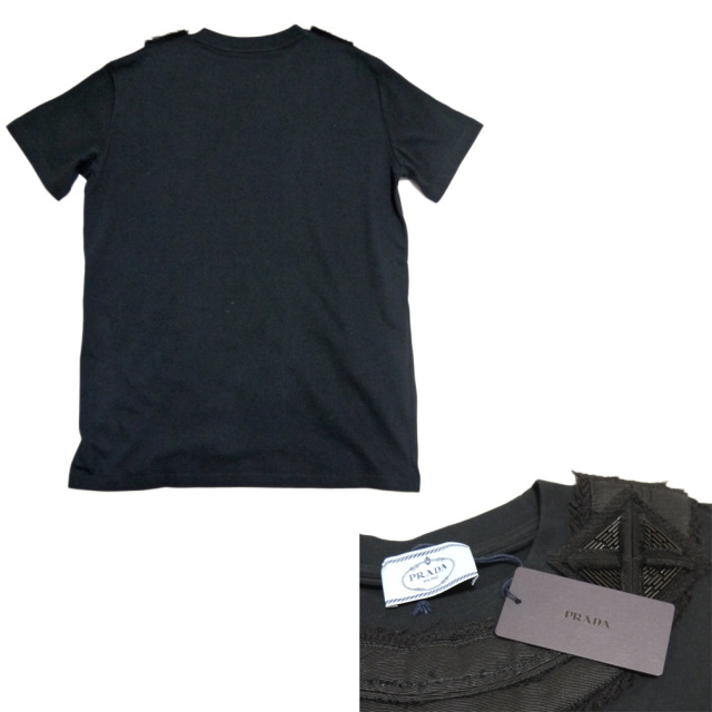 プラダ 襟にビーズ刺繍 Tシャツ 黒 #M #XL PRADA