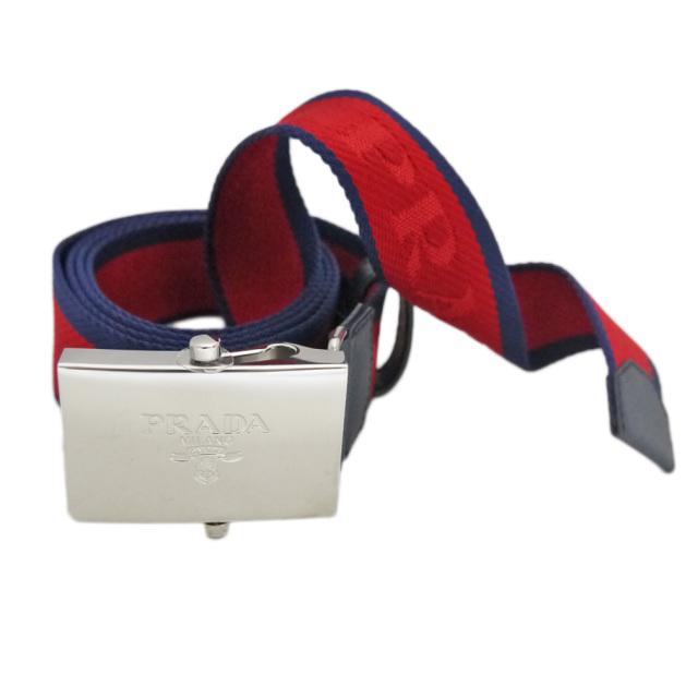 プラダ メンズ ロゴがお洒落 ナイロンカジュアルベルト 赤 #95 #105 PRADA