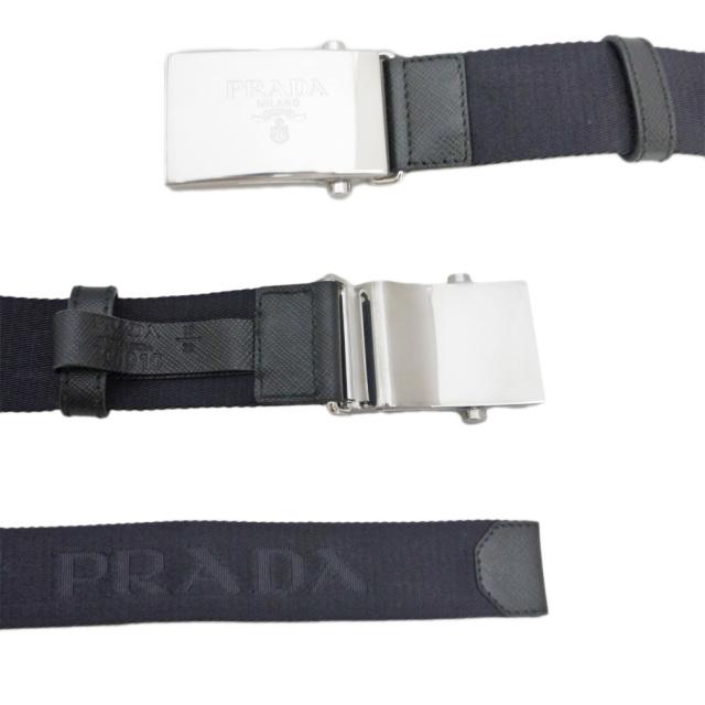 プラダ メンズ ロゴがお洒落 ナイロンカジュアルベルト 濃紺 #95 PRADA