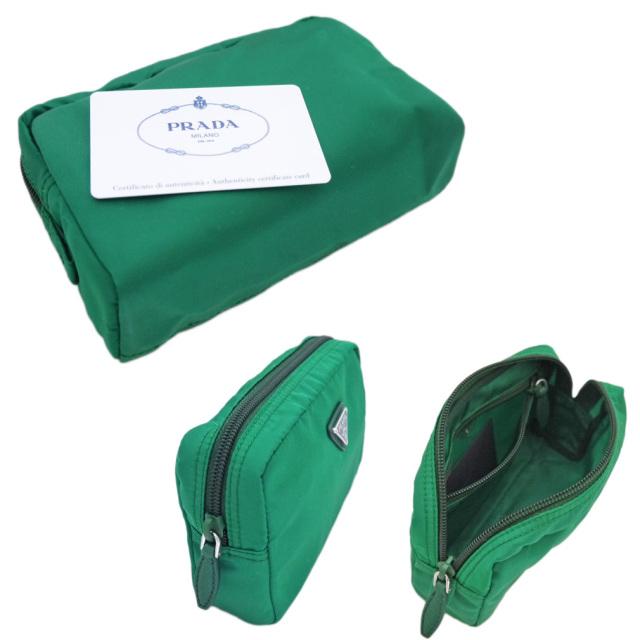 プラダ ナイロン化粧ポーチ 緑(OLEANDRO) 1NA021 PRADA