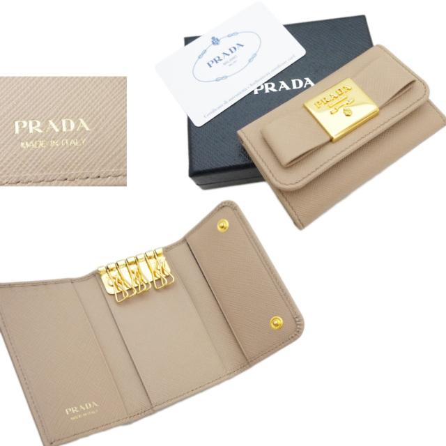 プラダ サフィアーノレザー リボンキーケース ベージュ(CAMMEO)1PG222 PRADA