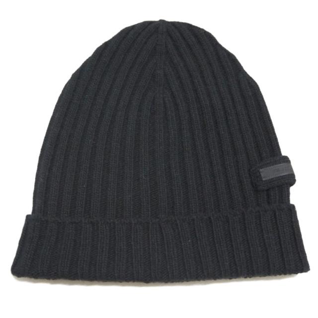 プラダ カシミア100% リヴニット帽子 男女兼用 黒 PRADA