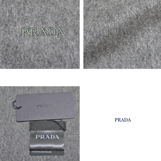 プラダ メンズ  カシミア混 フリンジマフラー グレー PRADA