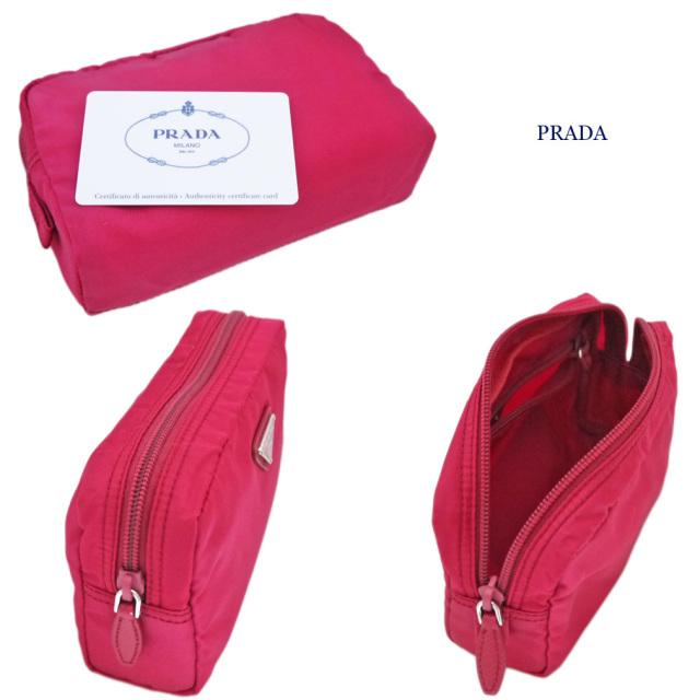 プラダ ナイロン化粧ポーチ ピンク(IBISCO) 1NA021 PRADA
