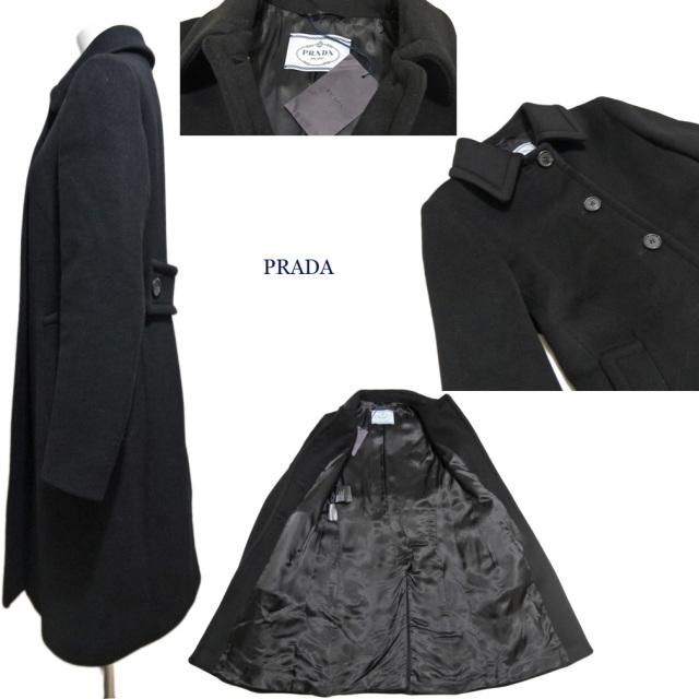 プラダ カシゴラ ステンカラーコート 黒 #36 PRADA