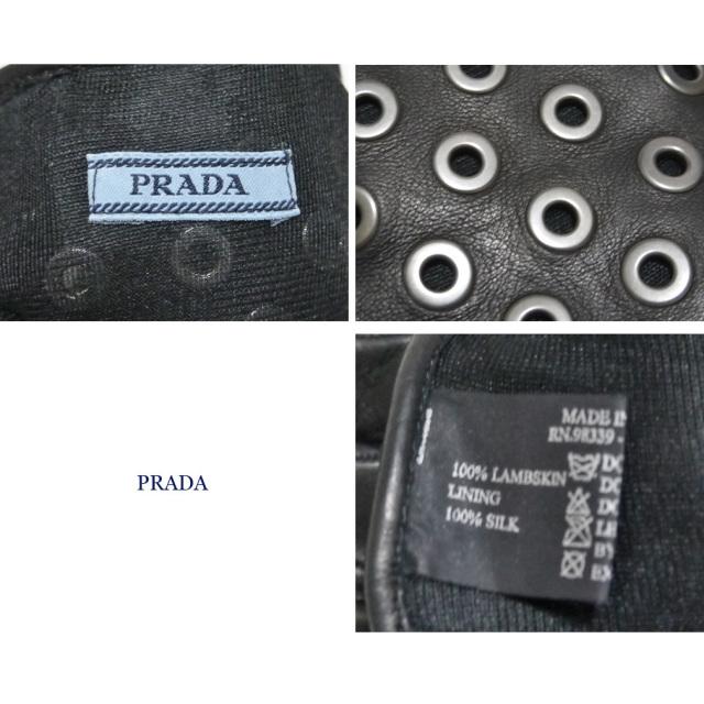 プラダ スタッズ 革手袋(レザーブローブ) 黒 #8 PRADA