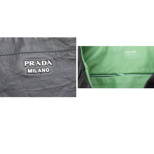 プラダ バイカラー しわ加工軽量レザートートバッグ 黒 1BG019 PRADA