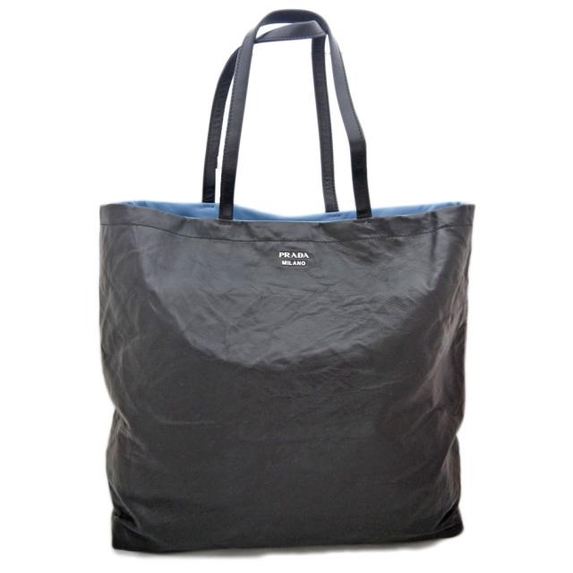 プラダ バイカラー しわ加工軽量レザートートバッグ 黒×青 1BG019 PRADA