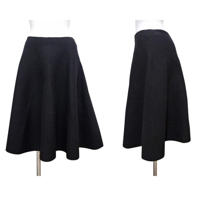プラダ ウール フレアスカート 黒 #40 PRADA