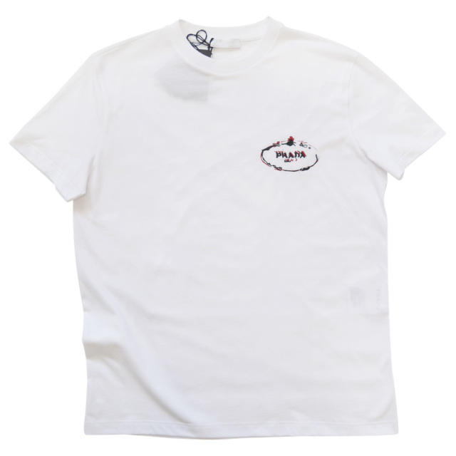 プラダ メンズ 刺繍ロゴ クルーネックTシャツ 白 #M #XL #XXL #XXXL  PRADA