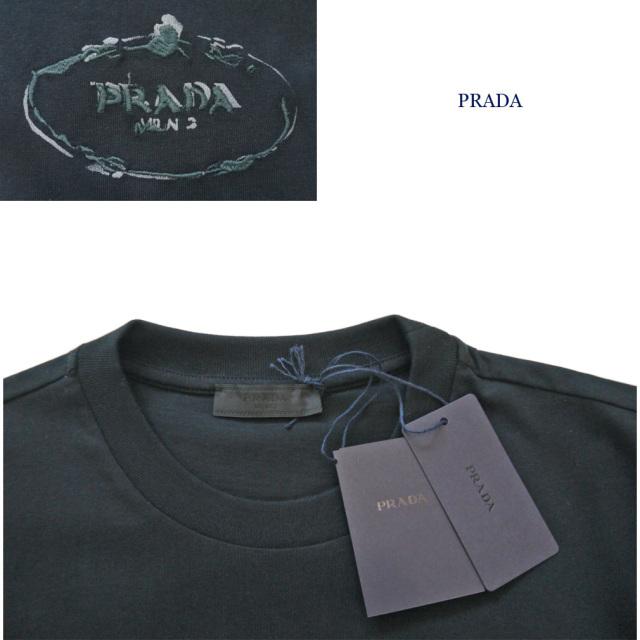 プラダ メンズ 刺繍ロゴ クルーネックTシャツ 黒 #M  #L #XL #XXL  PRADA